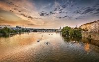 Sonnenuntergang an der Moldau